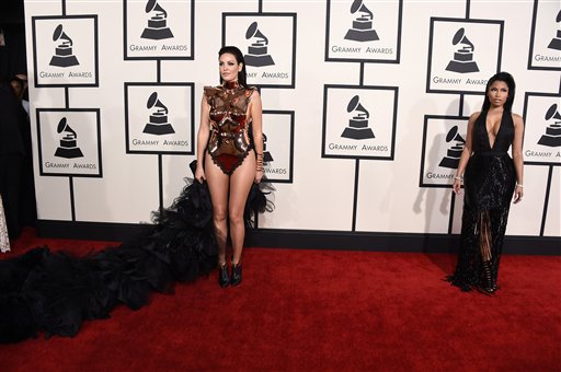 Bleona, left, and Nicki Minaj arrive at the 57th annual Grammy Awards at the Staples Center on Sunday, Feb. 8, 2015, in Los Angeles. (Photo by Jordan Strauss/Invision/AP)