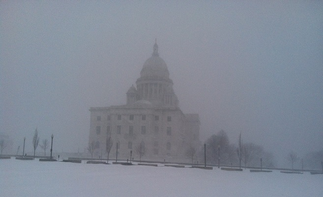 snowy Rhode Island state house_120840