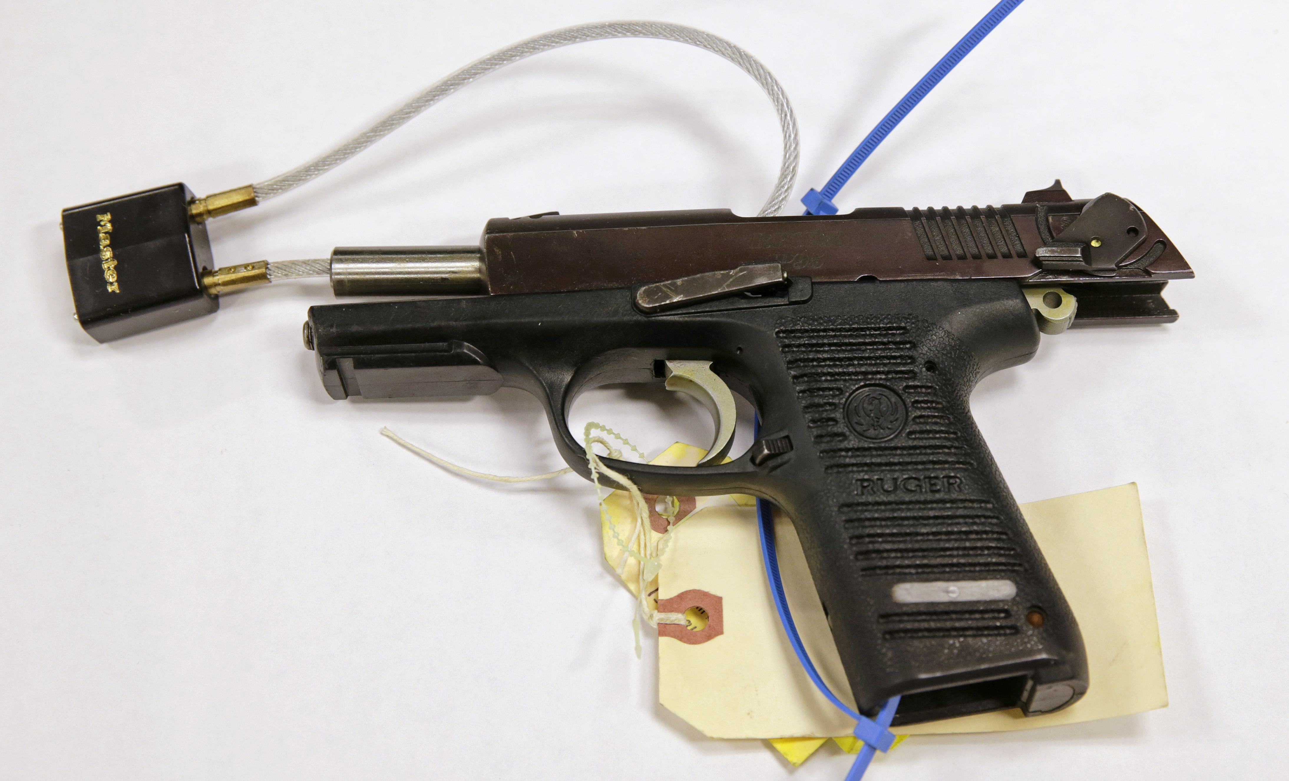 A Ruger pistol, that was shown during the Dzhokhar Tsarnaev federal death penalty trial, is displayed at a conference room at the John Joseph Moakley United States Courthouse in Boston, Tuesday, March 17, 2015.  Stephen Silva said during testimony...