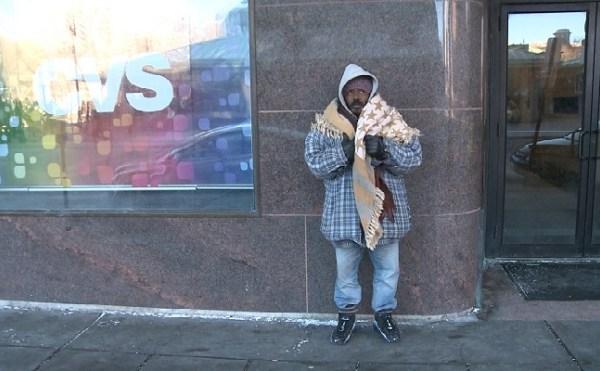Cold homeless man outside Crossroads_247610