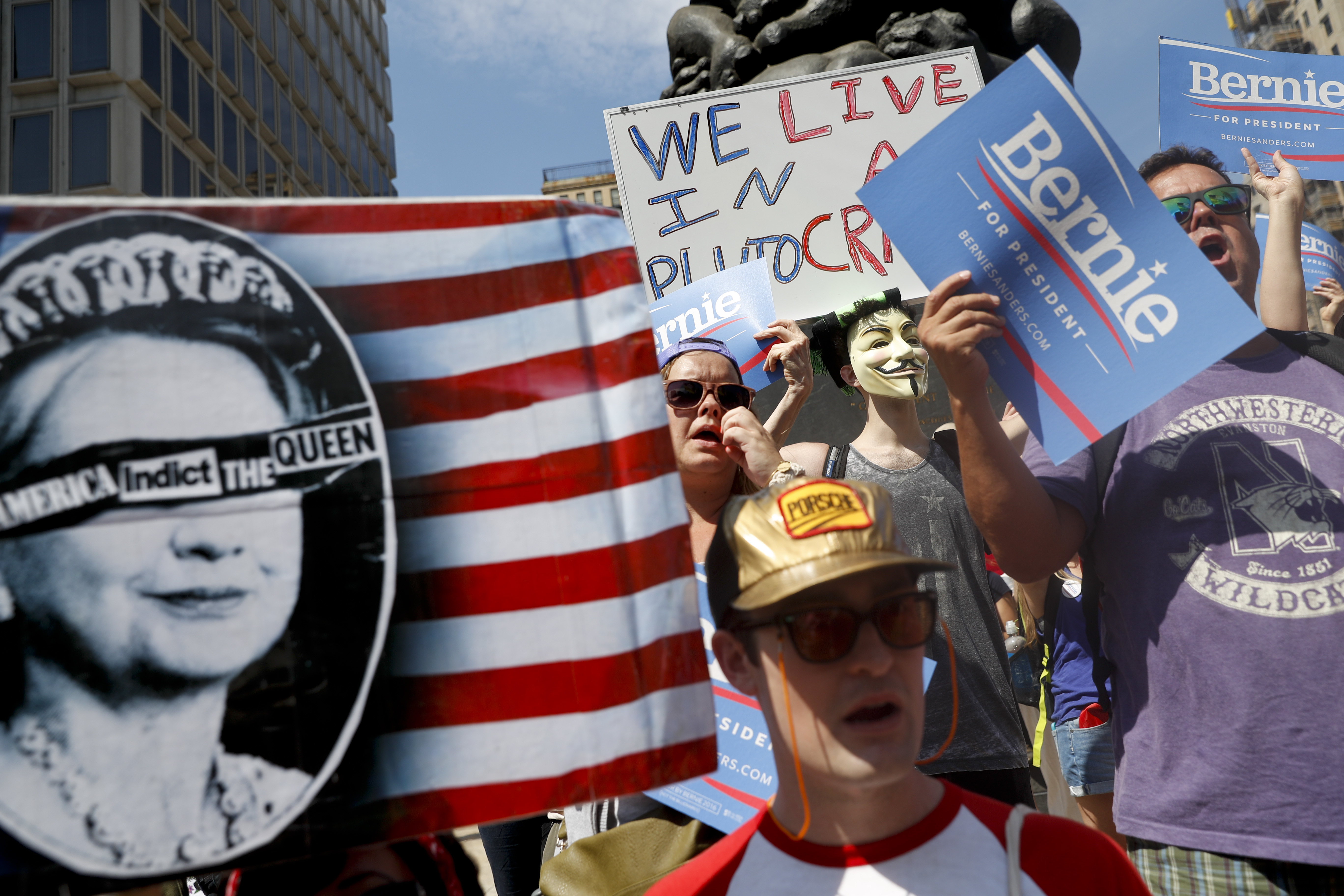 Supporters of Sen. Bernie Sanders, I-Vt., march during a protest in downtown on Sunday, July 24, 2016, in Philadelphia. (AP Photo/John Minchillo)