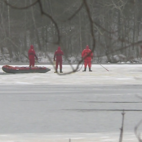 Deer rescued from ice in Foster