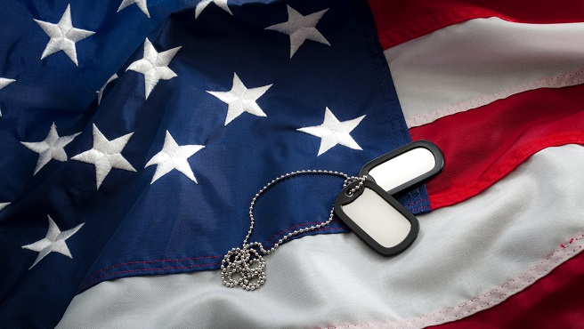Dog tags and the American flag_592801