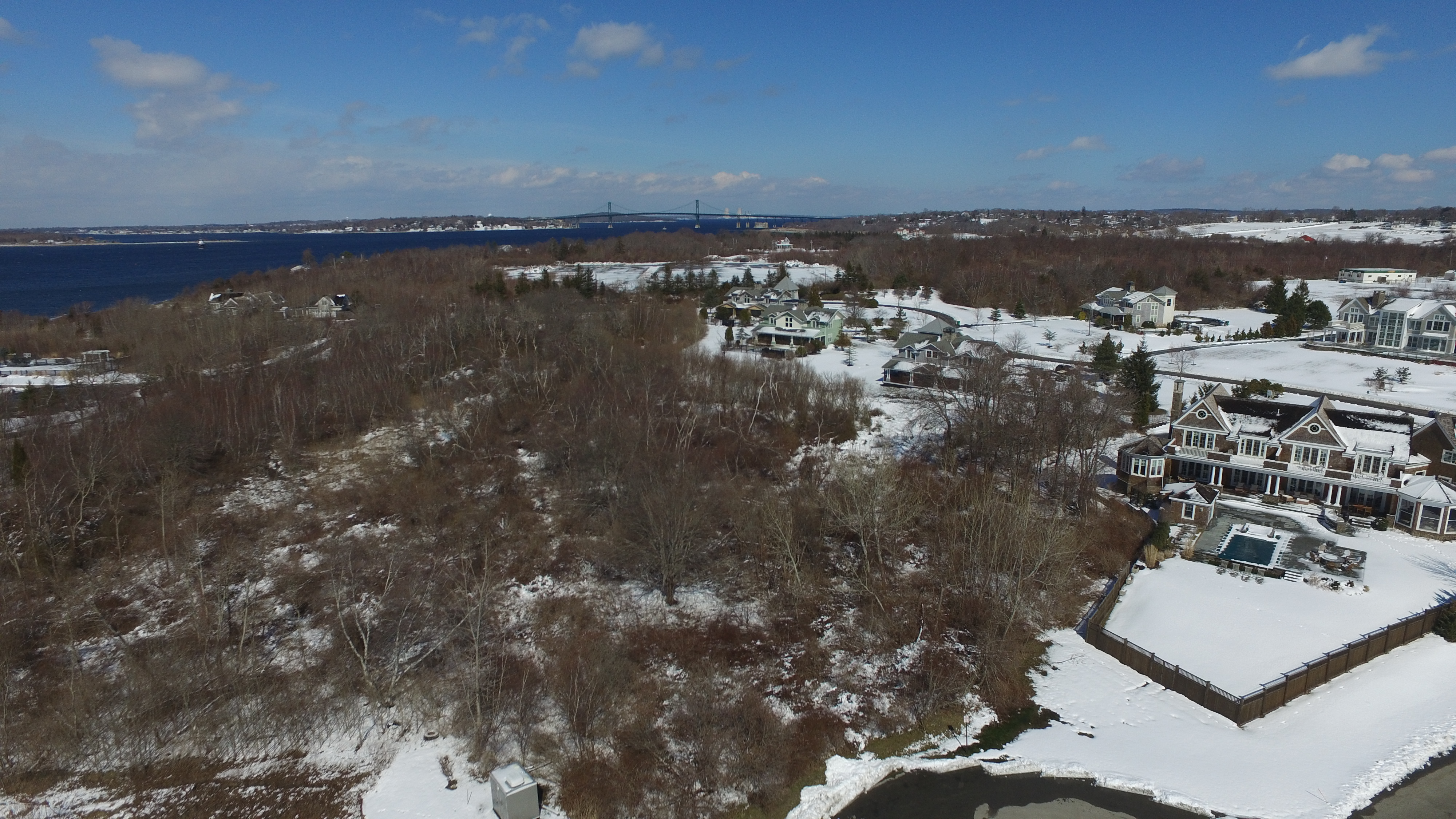 Sky Drone 12 over Portsmouth looking north toward the Mount Hope Bridge.