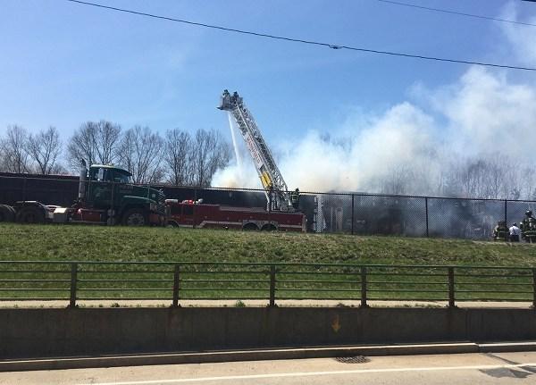 Mansfield freight train fire