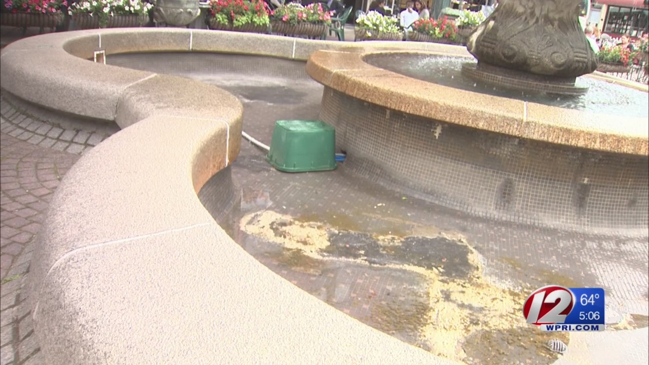 Flowers vanish from bottom basin of Federal Hill fountain