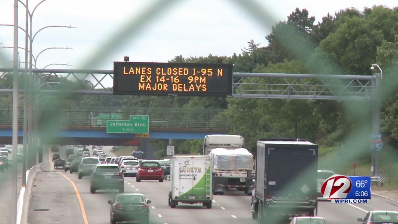 RIDOT to close multiple lanes on I-95 N Wednesday night