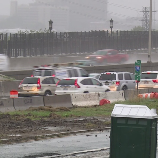 Wet weather adding to traffic delays on I-195 West