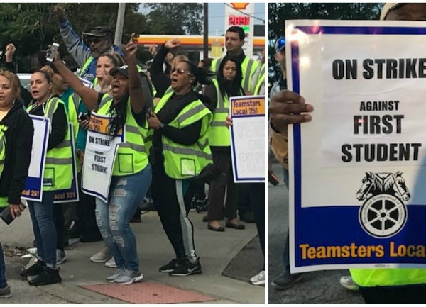 Providence parents forced to pick up students as bus drivers picket
