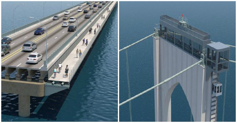 Pell Bridge could get observation deck and bike, walking paths
