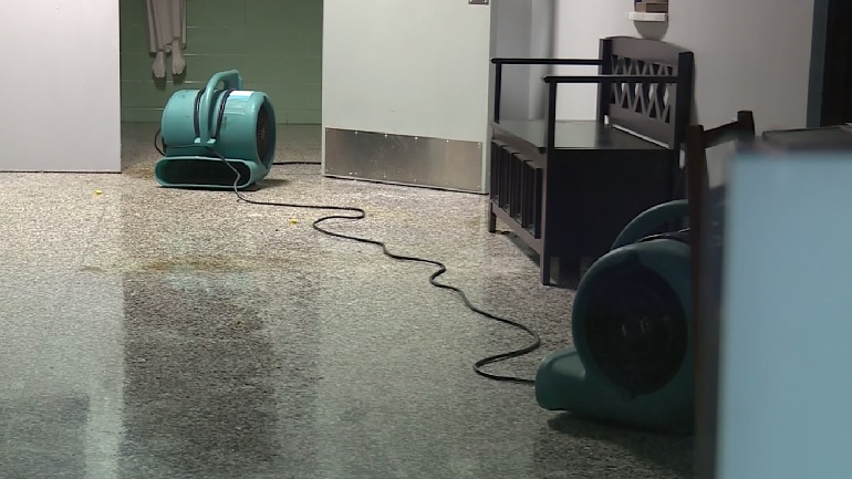 Pipe bursts at St. Kevin School