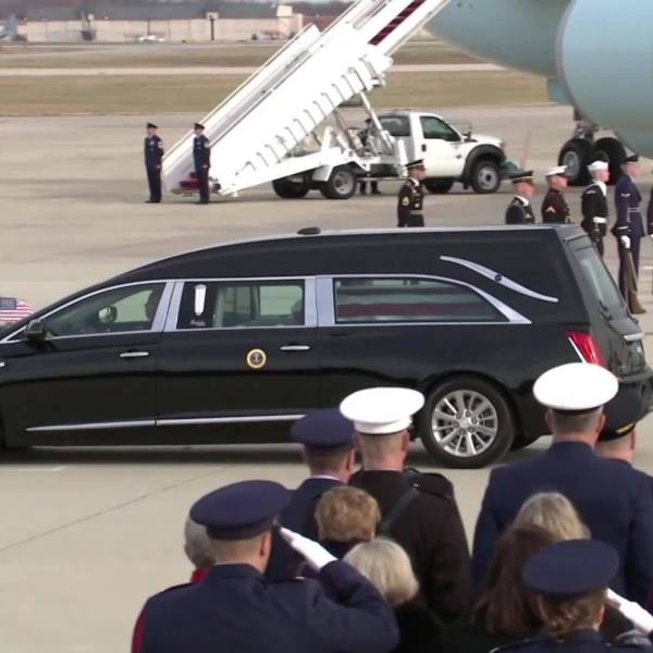 George H.W. Bush Departs Joint Base Andrews