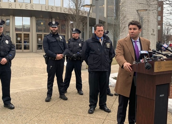 Fall River Mayor Jasiel Correia and police officers