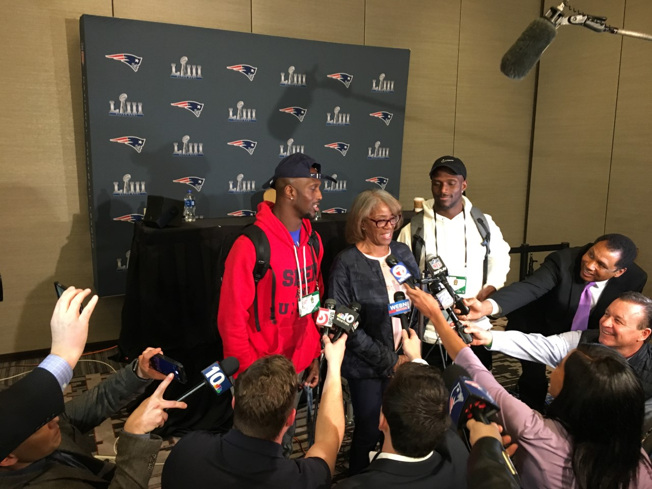 Patriots media availability Atlanta McCourty twins