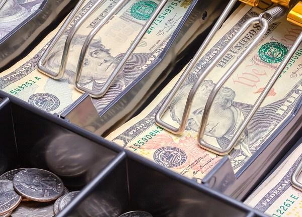 Cash register money drawer