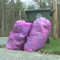 Pink bags in Coventry designated for clothing donations