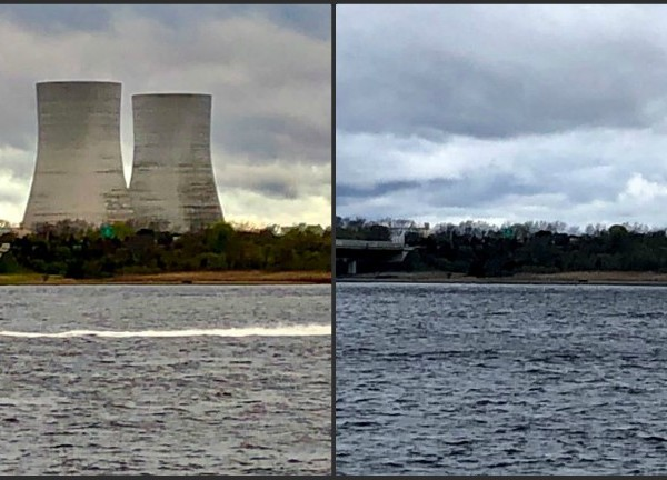 Brayton Point tower implosions before and after