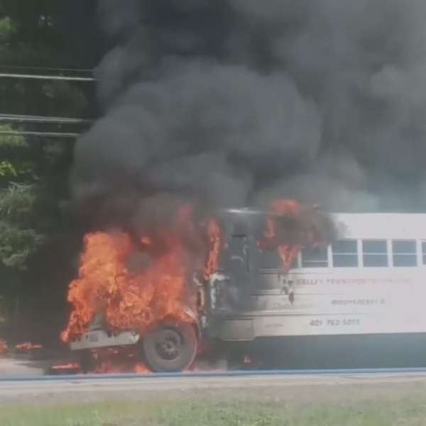 School bus with RI students aboard catches fire