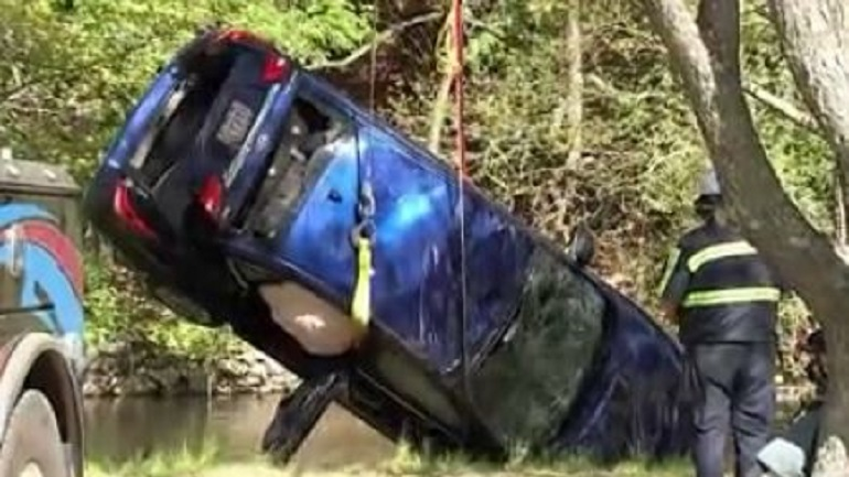 Woman ok after car plunges into Blackstone River