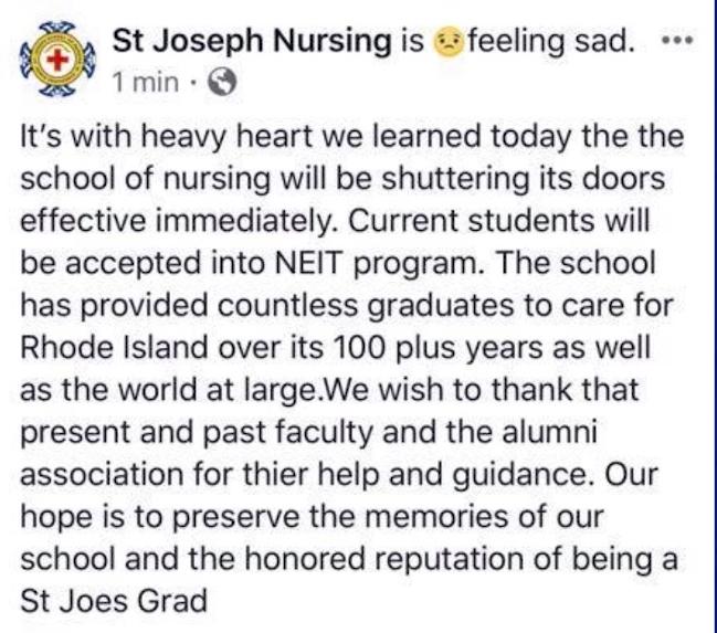 Officials: St  Joseph School of Nursing in North Providence