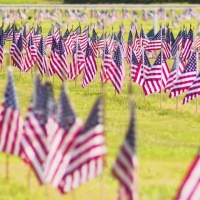 Honoring veterans' graves with red, white and blue