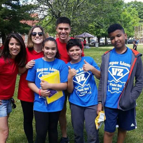 Group Shot with kids at Veazie St Field Day