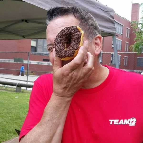 Walt and his donut at Veazie St Field Day