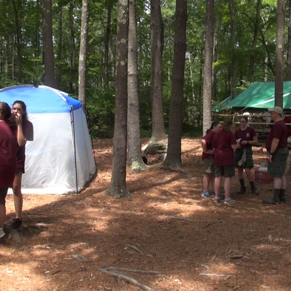 Girls at scout camp for the 1st time