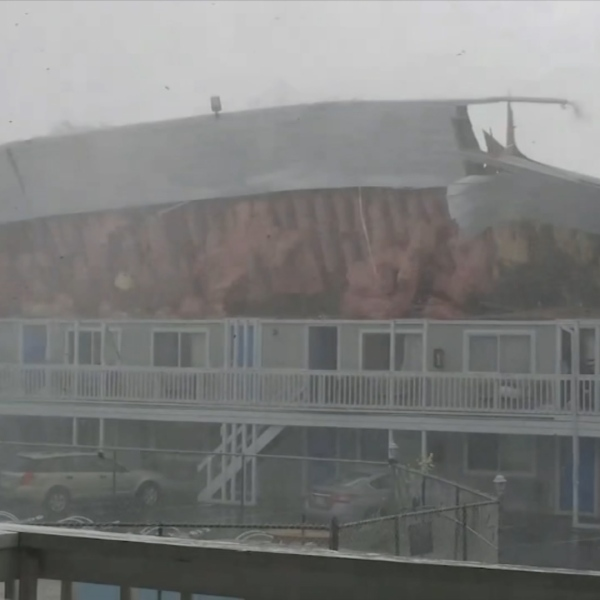 The rood of the Cape Sands Inn is torn off from an EF-1 on July 23rd.