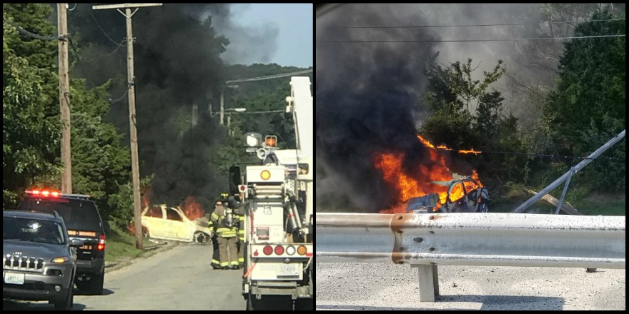 Car careens off highway, hits pole in fiery Portsmouth crash