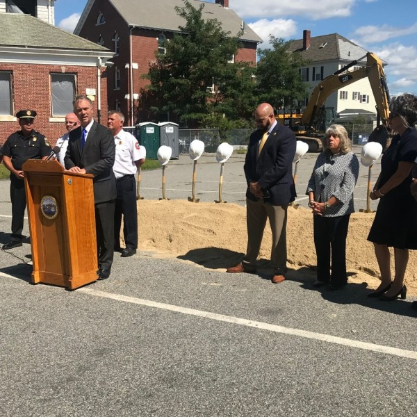 New Bedford mayor hosts groundbreaking for new public safety center.