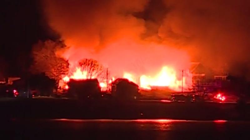 Massive fire erupts on Prudence Island