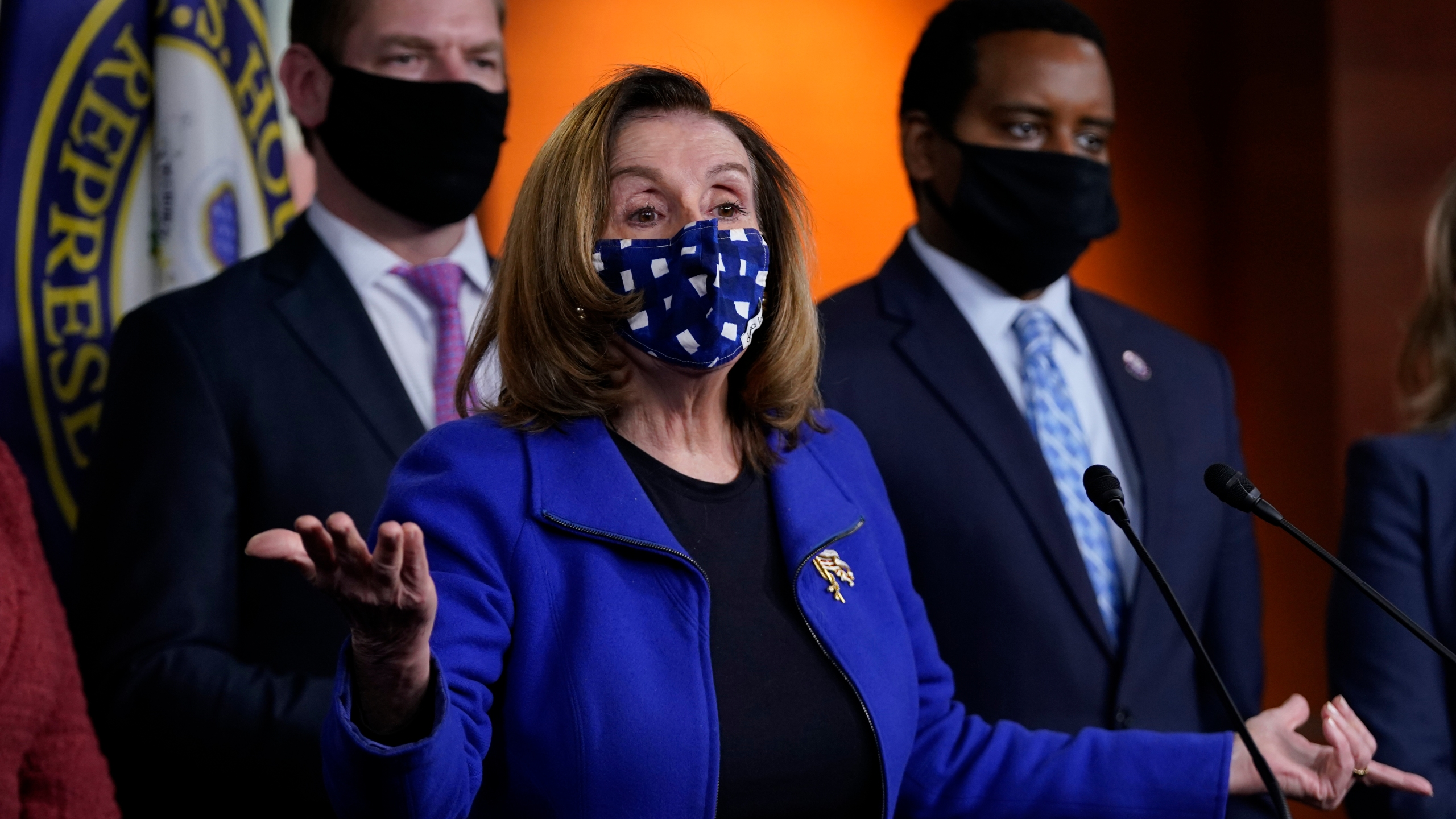 Nancy Pelosi, Eric Swalwell, Joe Neguse